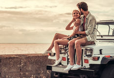 Couple travelling by car stock image