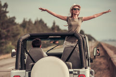 Couple travelling by car royalty free stock image