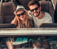 Couple travelling by car stock photography