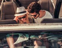 Couple travelling by car stock images