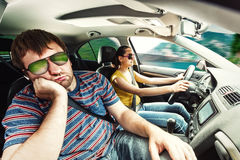 Couple travelling by car Stock Photo