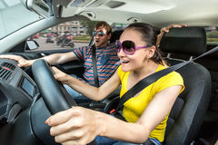Couple travelling by car Royalty Free Stock Photography