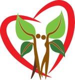 Couple tree logo. Illustration art of a couple tree logo with heart shape Stock Image