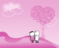 Couple and tree of pink hearts Stock Images