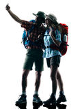 Couple trekker trekking nature silhouette selfie Royalty Free Stock Photos