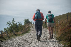 Couple of trekkers walking at the top with backpack Royalty Free Stock Photo