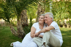 Couple at tropic hotel Stock Photo