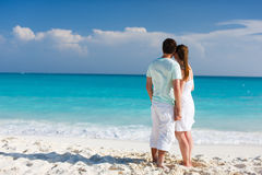 Couple at tropical beach Royalty Free Stock Image