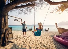 Couple on the tropical beach stock photography