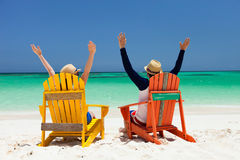 Couple at tropical beach Stock Image