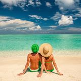 Couple on a beach at Maldives Royalty Free Stock Photo