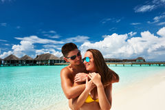 Couple on a beach at Maldives Stock Image
