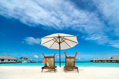 Couple on a tropical beach. At Maldives Royalty Free Stock Images