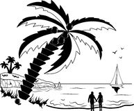 Couple at tropical beach with palm trees Stock Photos