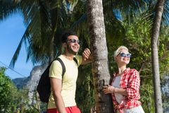 Couple On Tropical Beach Palm Trees Summer Sea Vacation, Beautiful Young People Lovers, Man Woman Holiday Royalty Free Stock Images
