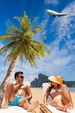 Couple on the tropical beach Stock Images