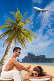 Couple on the tropical beach Royalty Free Stock Images