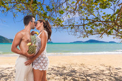 Couple on the tropical beach Royalty Free Stock Photos