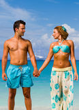 Couple on the tropical beach Stock Photos