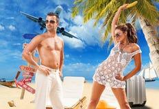Couple on the tropical beach Stock Photos