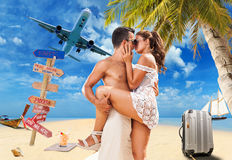Couple on the tropical beach Stock Photography