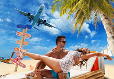 Couple on the tropical beach Royalty Free Stock Photo