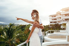 Couple in tropical hotel Stock Photo