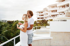 Couple in tropical hotel stock image