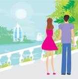 Couple on tropical Stock Photos