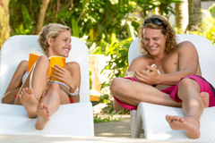 Couple in tropical resort Royalty Free Stock Images