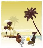 Couple on tropical vacation. Tropical travel,couple having fun under the palm trees, exotic island,vector illustration Royalty Free Stock Photography