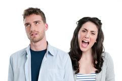 Couple in trouble yelling Royalty Free Stock Photography