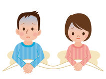 Couple with troubles. Vector illustration.Original paintings and drawing Stock Images