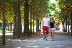 Couple in the Tuileries garden Royalty Free Stock Photography