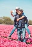 Couple in a tulip field Stock Photos