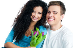 Couple with tulips Stock Photography