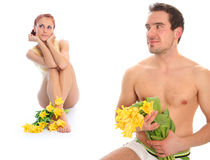 Couple with tulips Stock Images