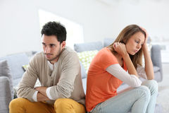 Couple turning backs being angry Stock Photography