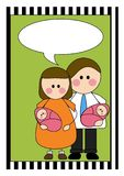 Couple with twins illustration Royalty Free Stock Photos