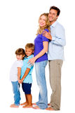 Couple with two children. In white background Stock Image