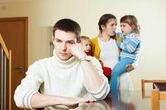 Couple with two children in quarrel Stock Photography