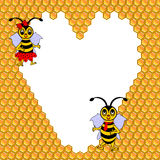 A couple of two funny cartoon bees with a heart su Royalty Free Stock Images