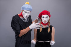 Couple of two funny mimes isolated on background Stock Image