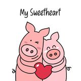 Couple of two happy pigs hugs and smiling. My sweetheart cartoon flat vector illustration card stock illustration