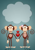 A couple of two Monkeys in love Royalty Free Stock Photo