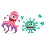 Couple of ugly virus, germ, bacteria characters with spikes, tentacles. Couple of ugly virus, germ, bacteria characters with spikes and tentacles, cartoon vector stock illustration