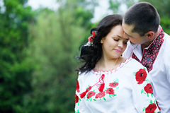 Couple in Ukrainian costumes, close-up Royalty Free Stock Photos