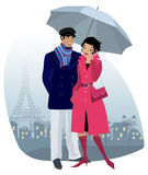Couple with umbrella. Vector illustration of a couple with umbrella in the old city Stock Image