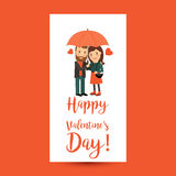 Couple with umbrella Valentines Day flyer Stock Images