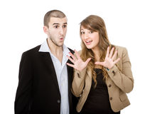 Couple unbelievable expression Stock Images